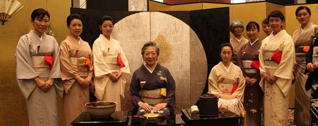 Japanese women presenting a traditional tea ceremony
