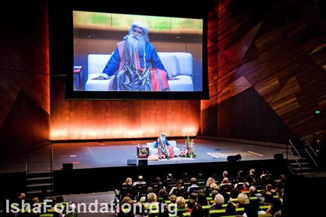 Sadhguru gives a public talk in Melbourne