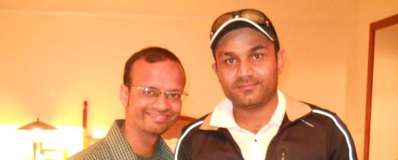 With Virender Sehwag