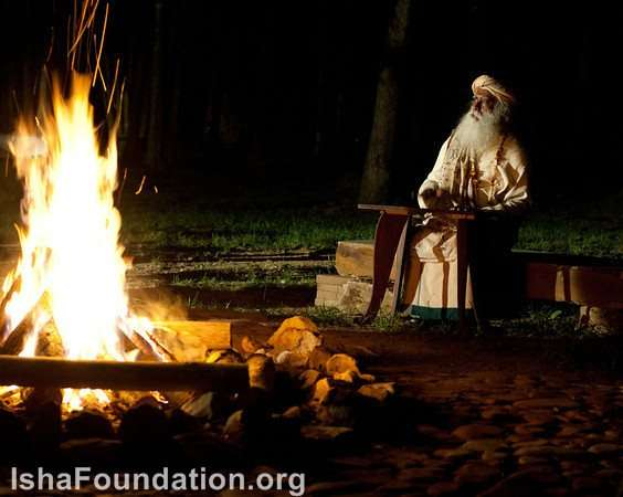 Sadhguru by the fire at iii
