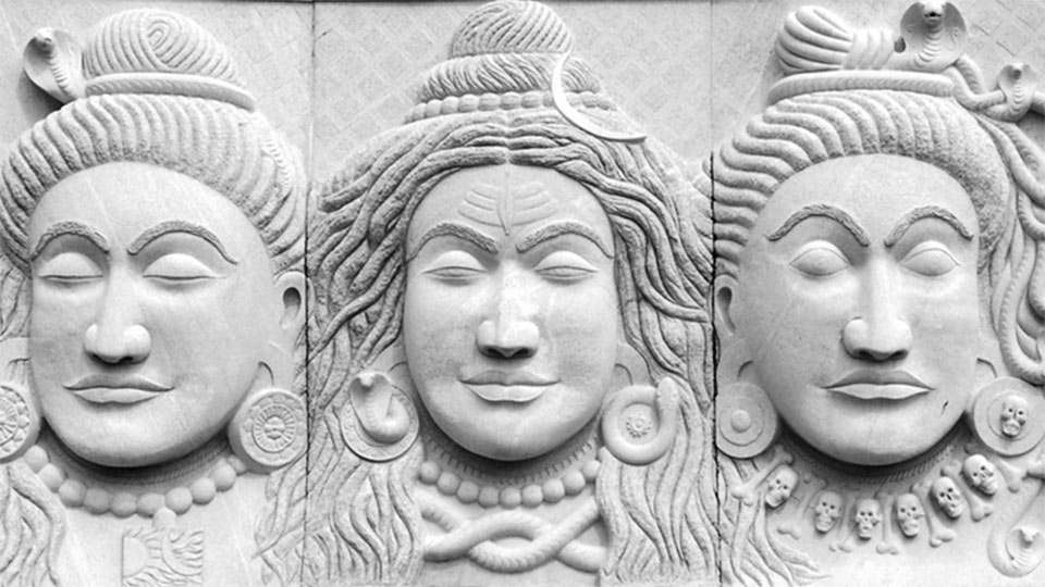 Trimurti Panel at the back of Dhyanalinga - representing three aspects of Shiva