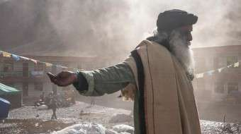 Passion to Compassion - Sadhguru with outstretched arms at Nepal