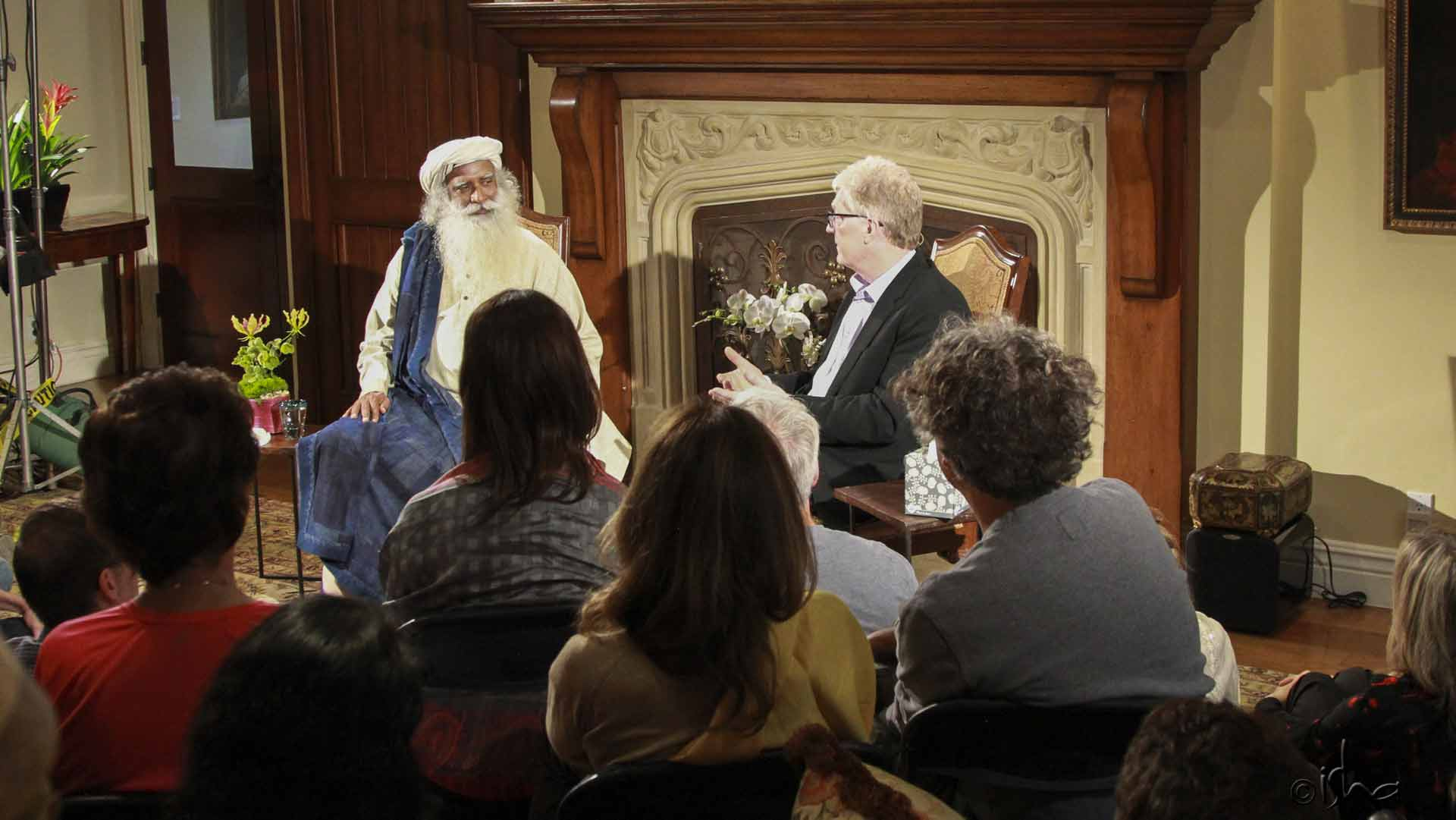 Sir Ken Robinson, author, speaker, and international advisor on education, in conversation with Sadhguru, Los Angeles, California