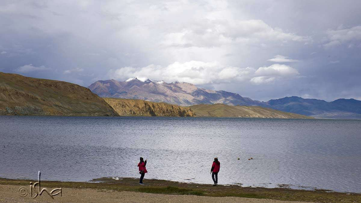 View from Manasarovar to Kailash with the peak in the clouds