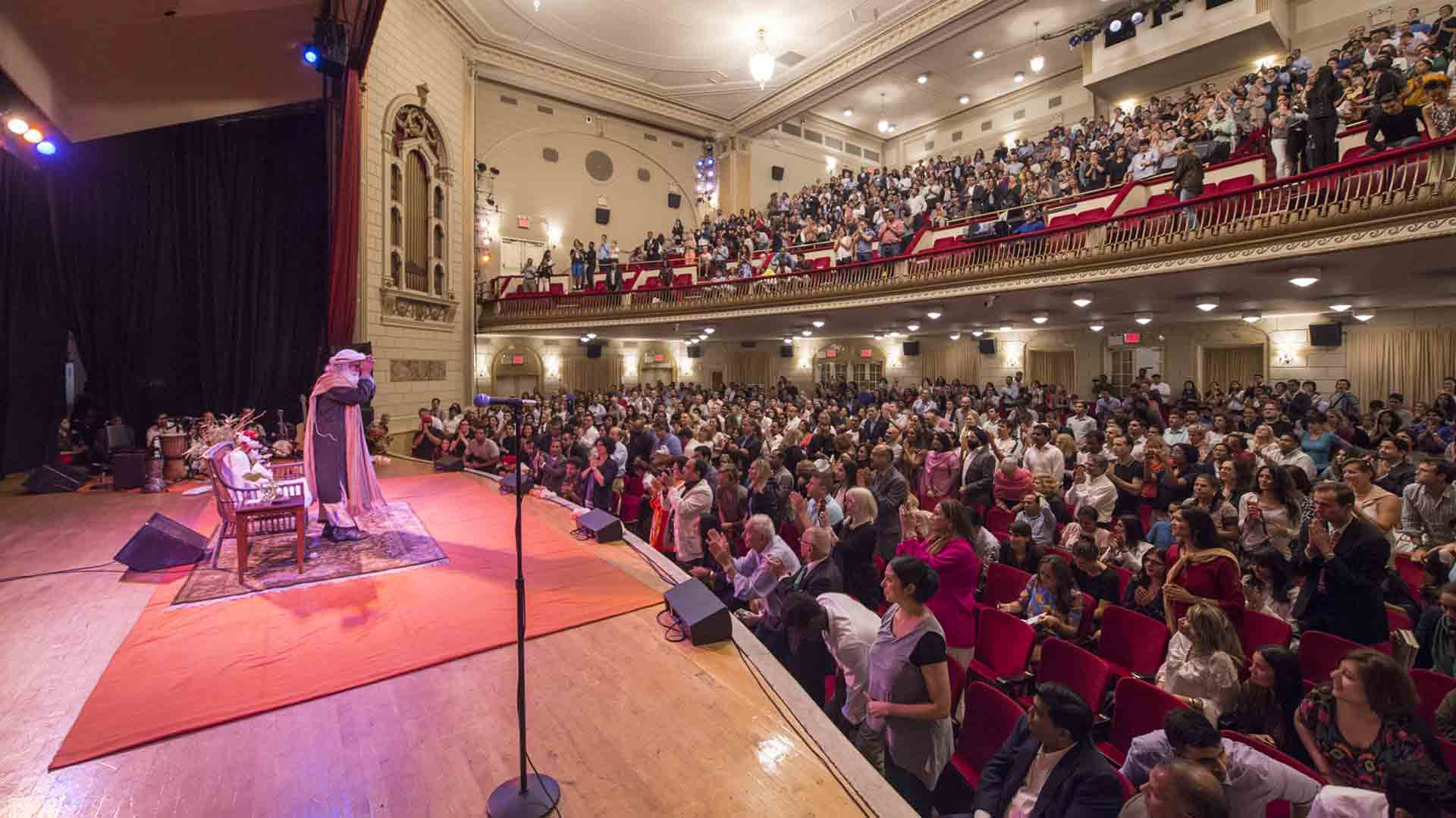 Event with Sadhguru at the historic Town Hall in New York City on September 20, 2016, the day of the book launch