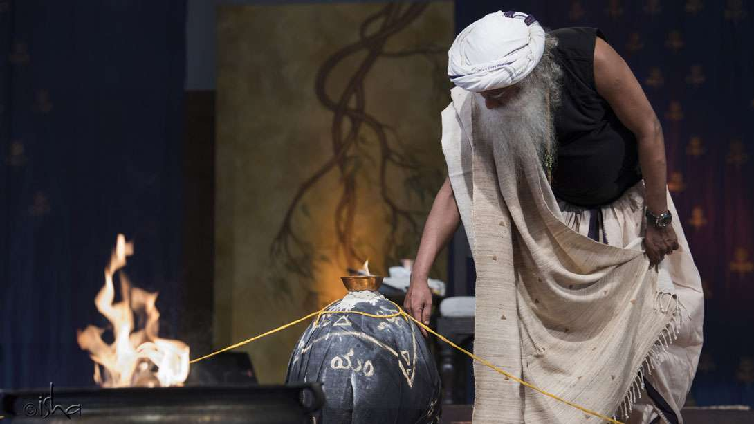Sadhguru feeling out the energy