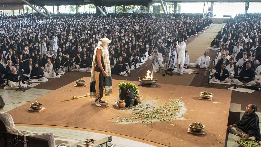 The Adiyogi Alayam was overflowing with over 12,000 people taking part in the consecration of the Yogeshwar Linga