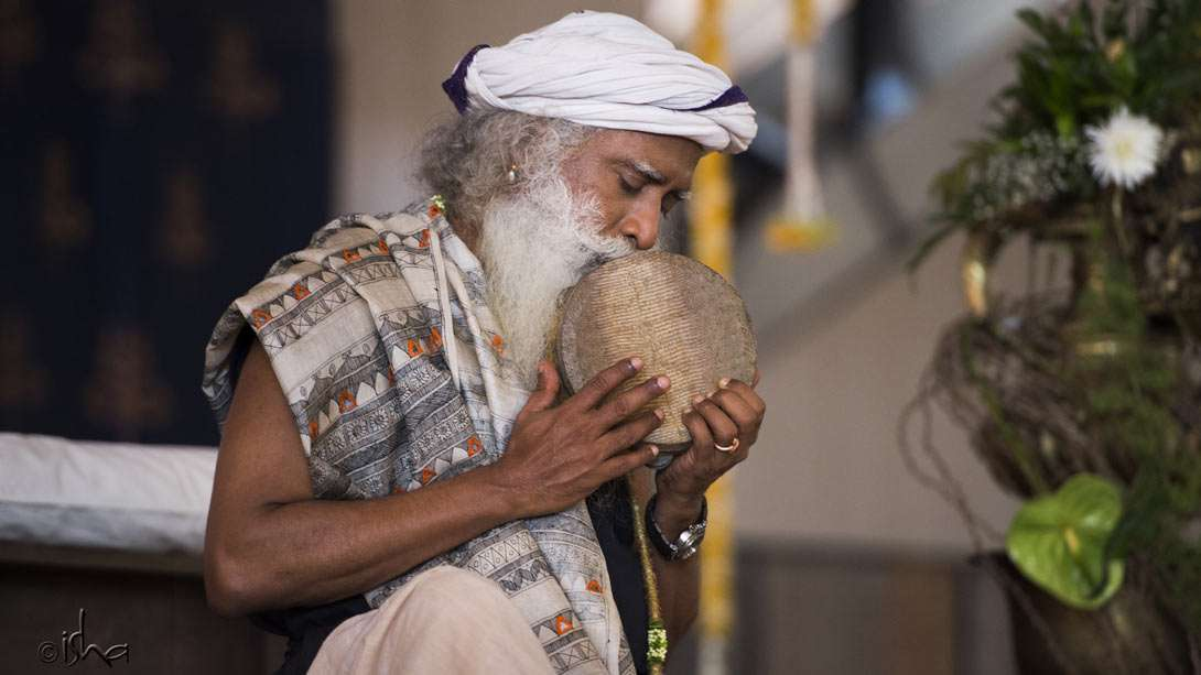 Sadhguru playing the kanjira towards the end of the consecration process