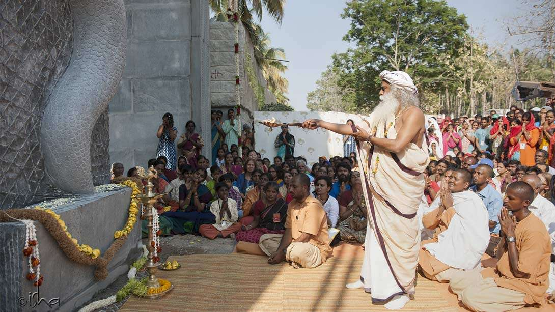 Sadhguru inaugurating the Sarpa Vasal – the last snake he added on the premises, as he jokingly said