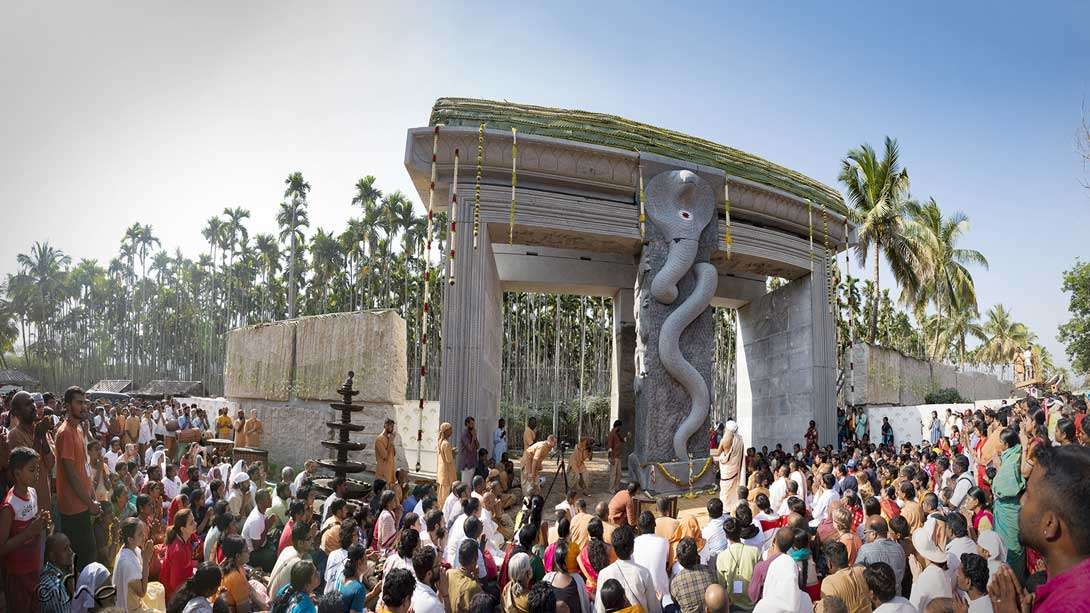 A panoramic view of the Sarpa Vasal, the new gate between Adiyogi and Dhyanalinga
