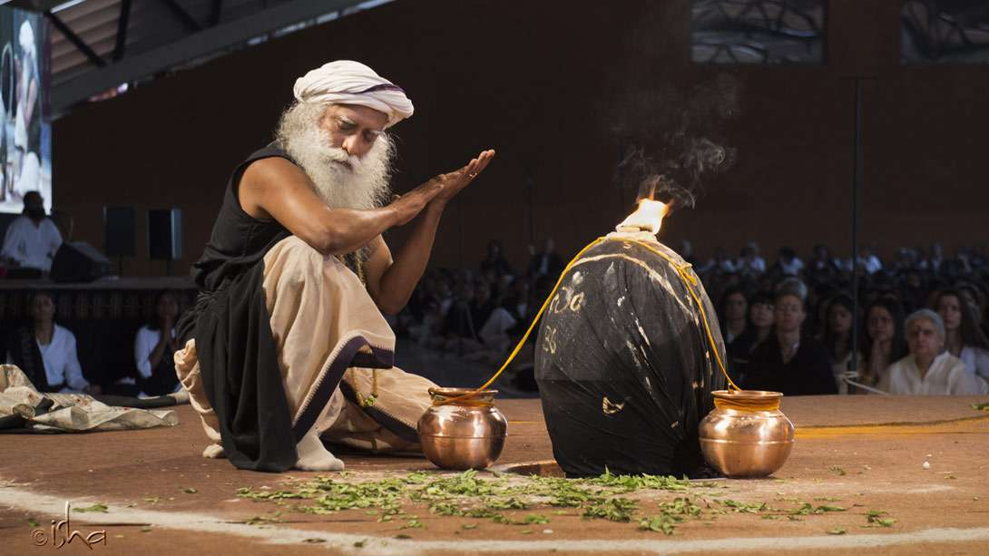 Sadhguru in the process of turning inanimate material into a living force