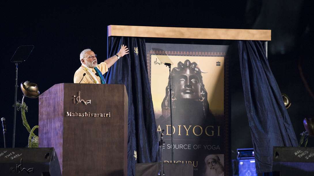 PM Narendra Modi delivering a stirring speech about yoga as a way to experience oneness with every human being and the whole of creation