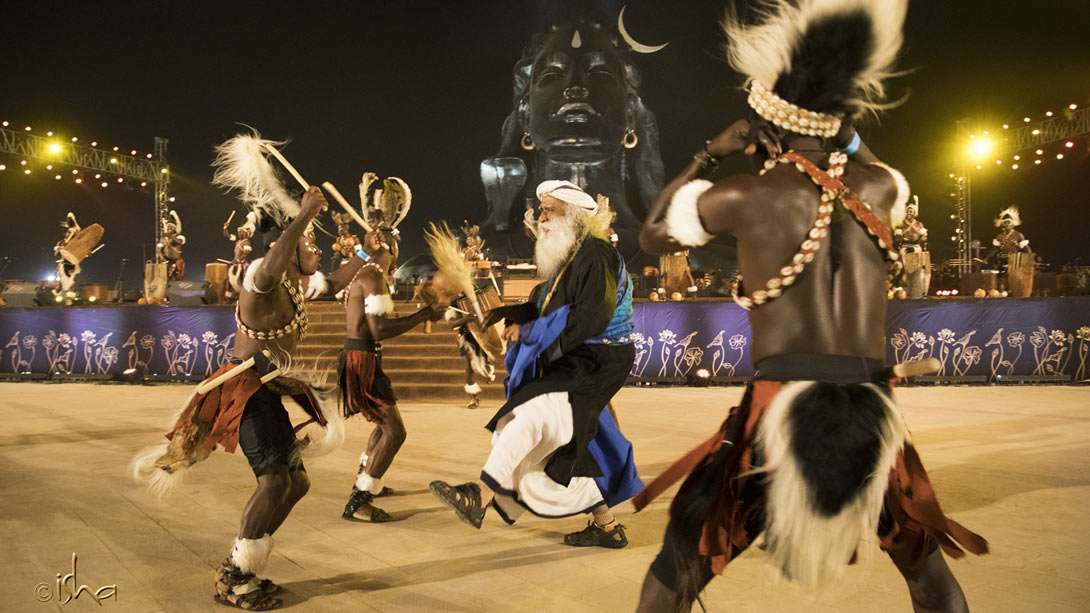 Sadhguru joining the tribal dancers