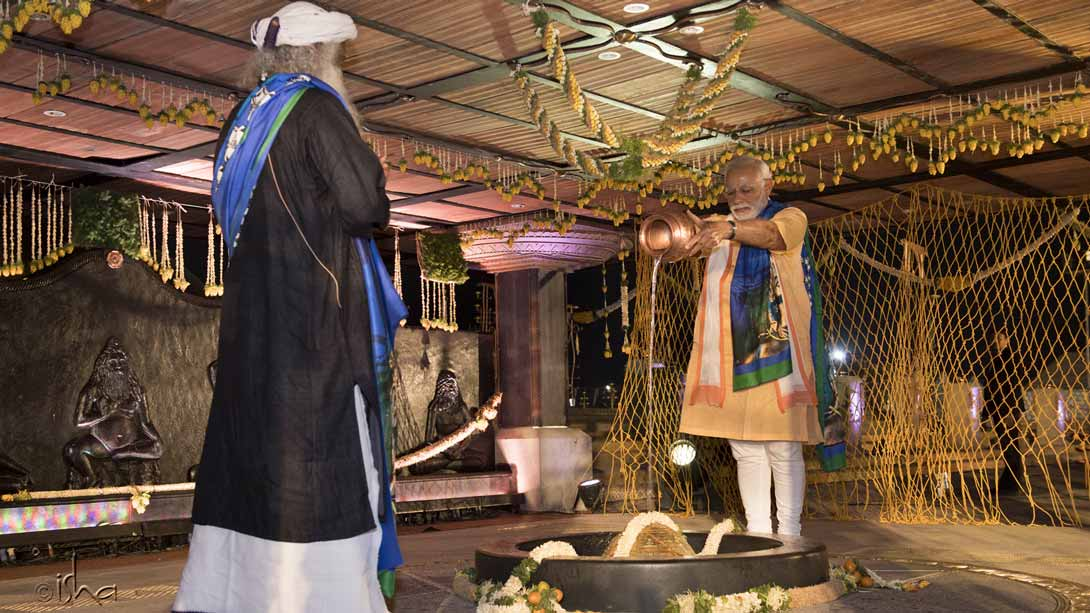 PM Narendra Modi offering jala abhishek at the Yogeshwar Linga in front of Adiyogi