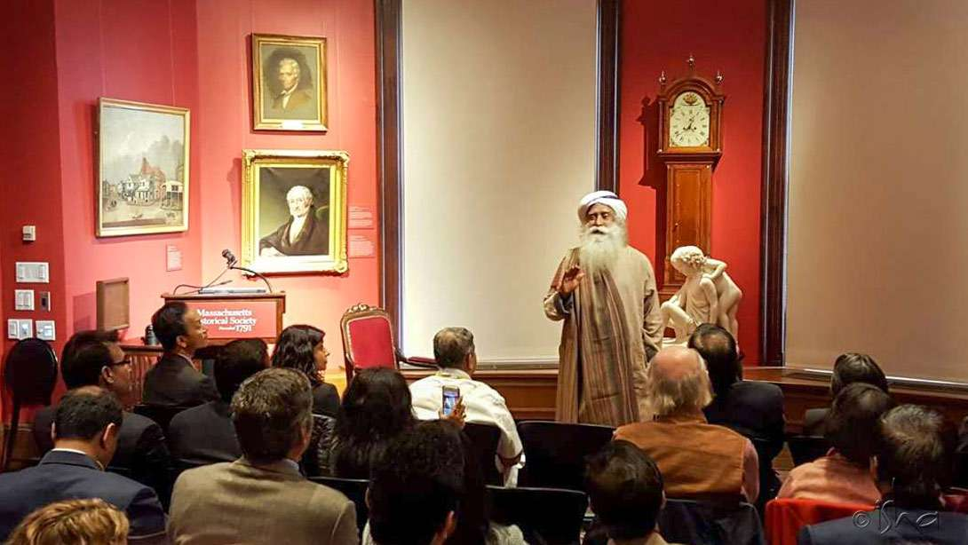 "Sadhguru speaking on ""Pain and Addiction Management: Role of Yoga and Ayurveda"" at the Massachusetts Historical Society, Boston, Massachusetts"