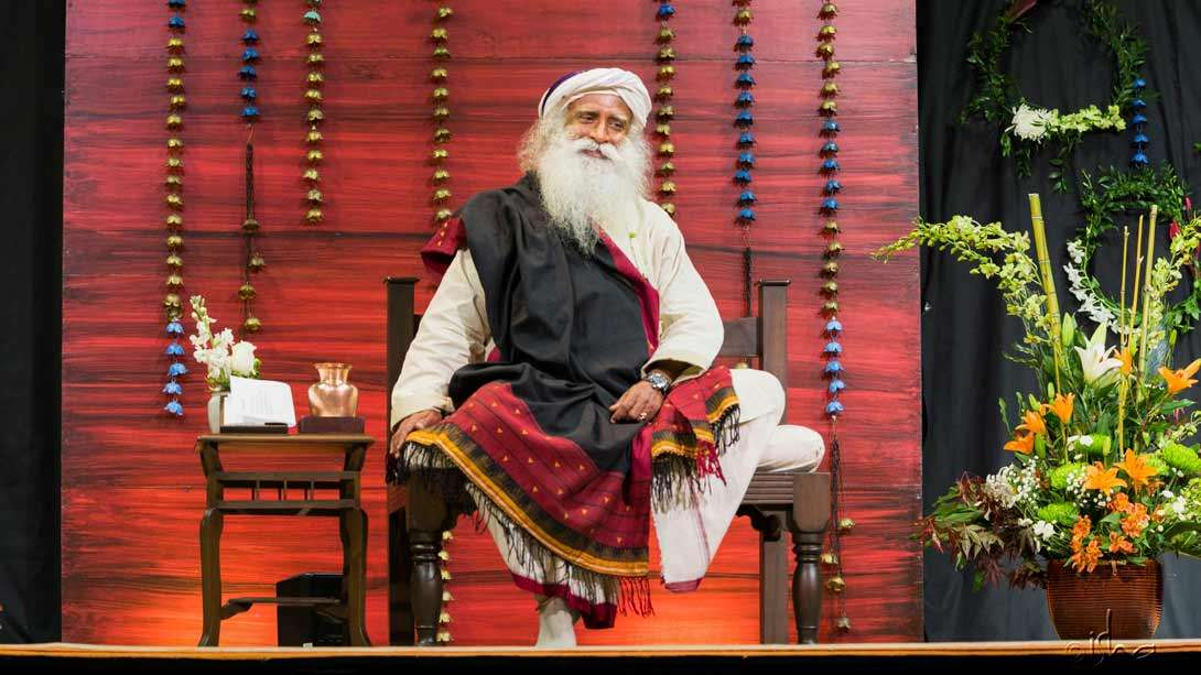 Sadhguru offering live guidance towards joy, wellbeing, and a more profound experience of life