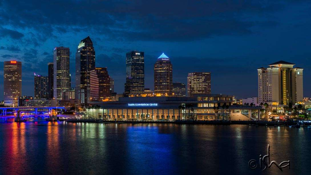 The Tampa Convention Center, venue of the recent Inner Engineering program with Sadhguru, with the glistening city skyline as the backdrop