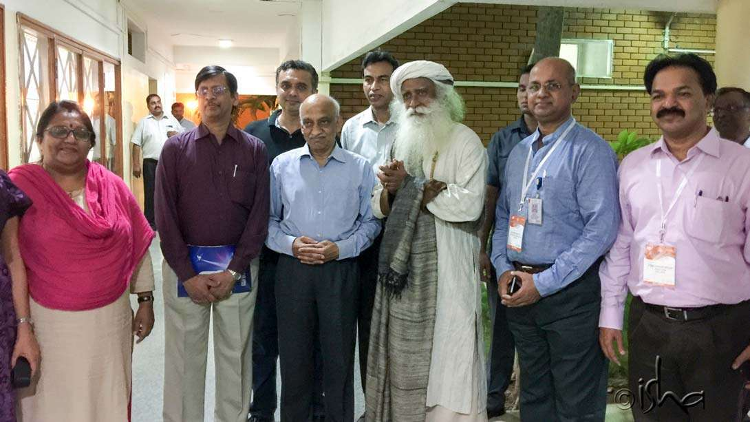 Sadhguru with the Chairman of ISRO, A.S. Kiran Kumar (fourth from left), at the Satish Dhawan Space Centre in Sriharikota for the launch of the GSLV MK III rocket