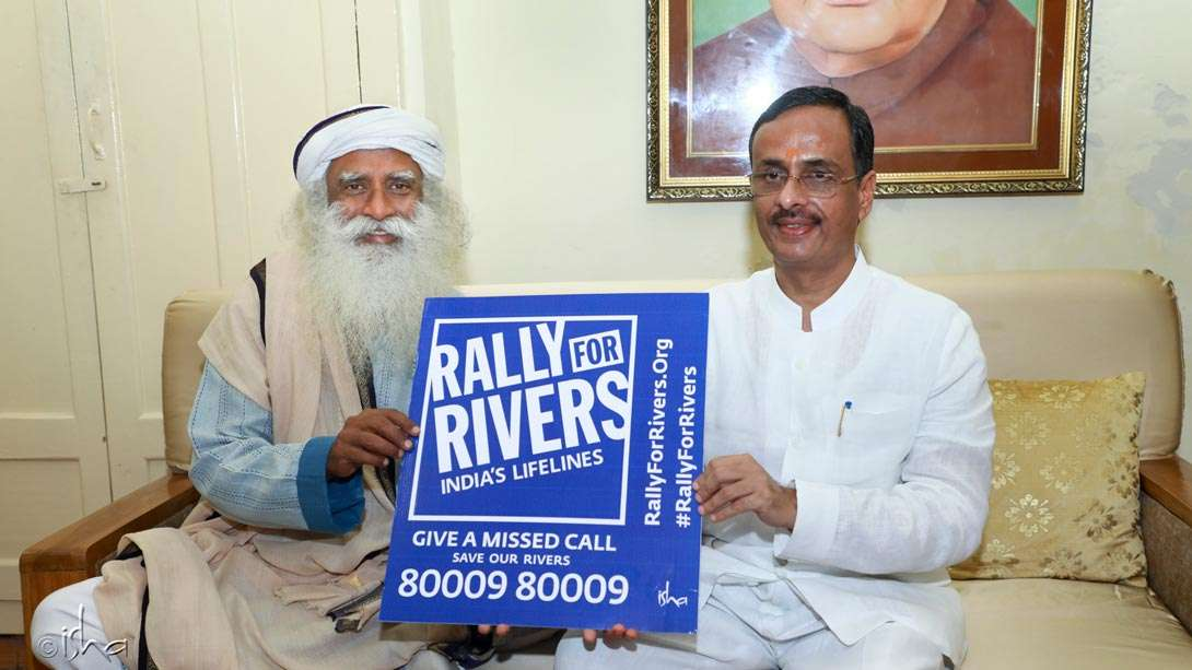 Dr. Dinesh Sharma, Deputy Chief Minister of Uttar Pradesh, lending his support for the Rally for Rivers