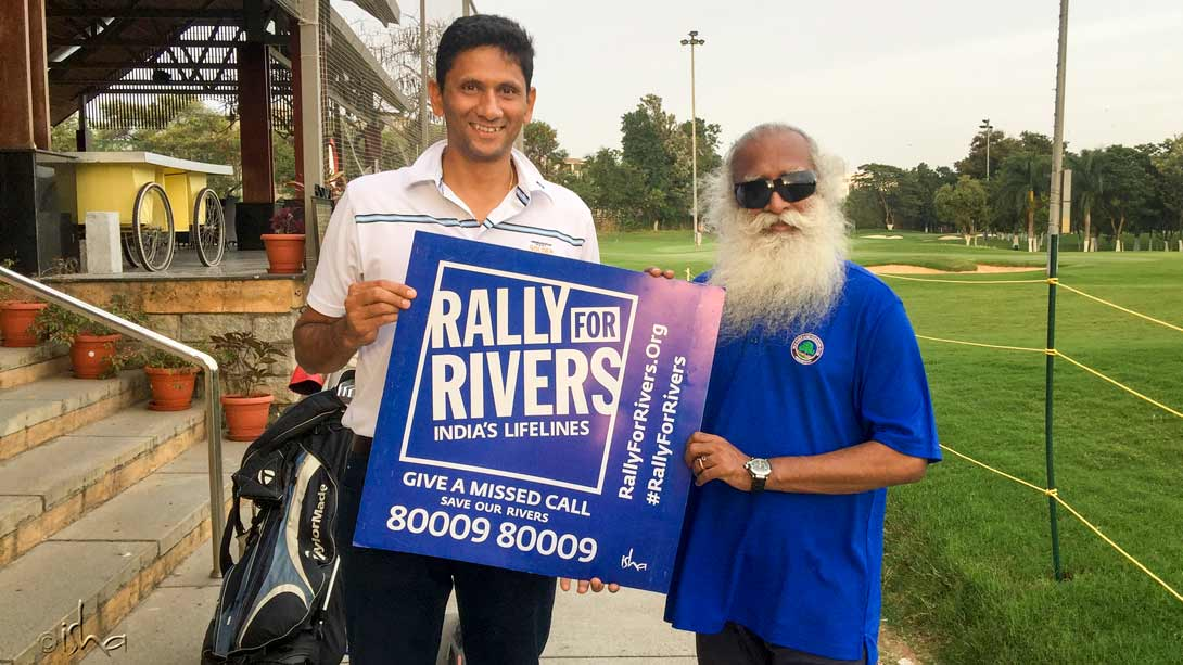 Former cricketer and current coach Venkatesh Prasad with Sadhguru, pitching it up for rivers