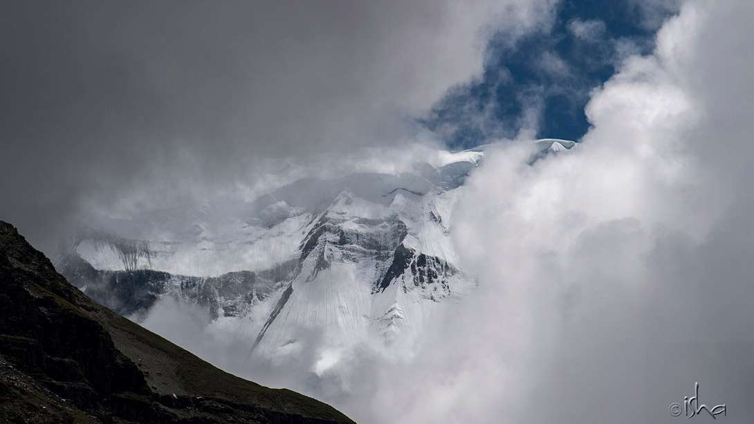 The majestic Annapurna shrouded in clouds