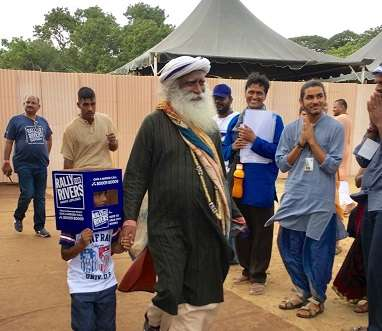 Rally For Rivers Sadhguru and Chief Guests Reaches the Venue Day 01 Coimbatore 01