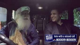 Vivek Anand Oberoi with Sadhguru in the Rally For Rivers at Raj Bhavan, Mumbai