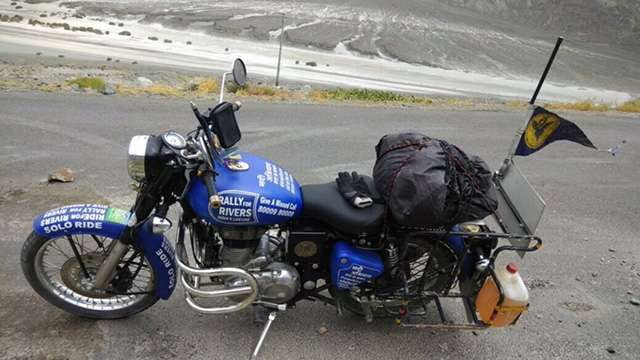 The Bike in Blue Rallies for Rivers High Up in the Himalayas