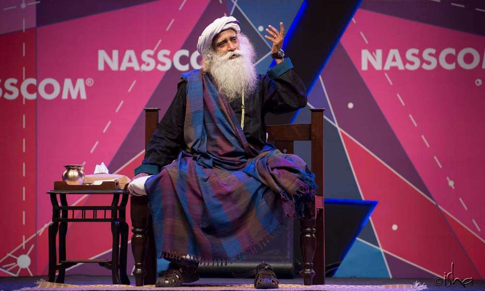 Sadhguru giving a talk at the World Congress on IT and NASSCOM India Leadership Forum 2018