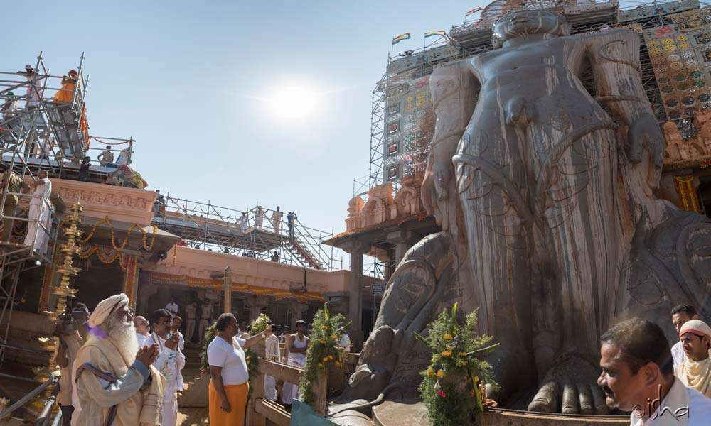 At the over 1000-year-old, 57-foot high monolithic Gomateshwara statue