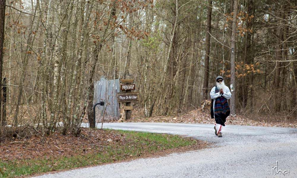 Sadhguru going for a walk at the Isha Institute of Inner-sciences (iii) in Tennessee